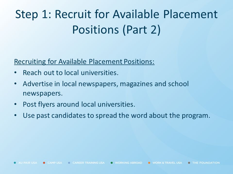 Step 1: Recruit for Available Placement Positions (Part 2)