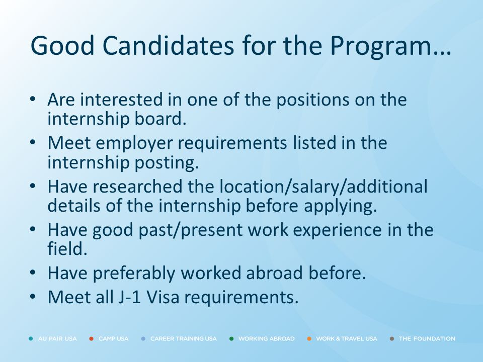 Good Candidates for the Program…