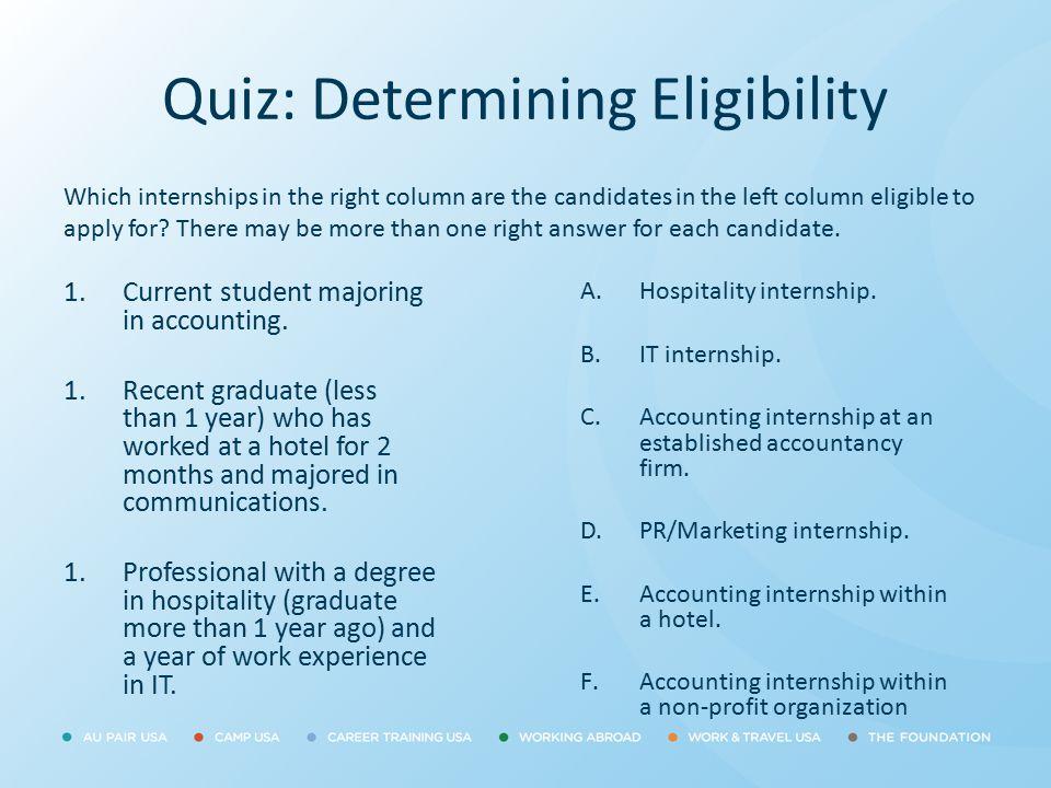 Quiz: Determining Eligibility