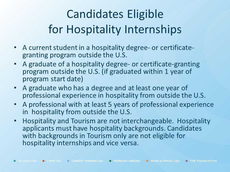 Candidates Eligible for Hospitality Internships