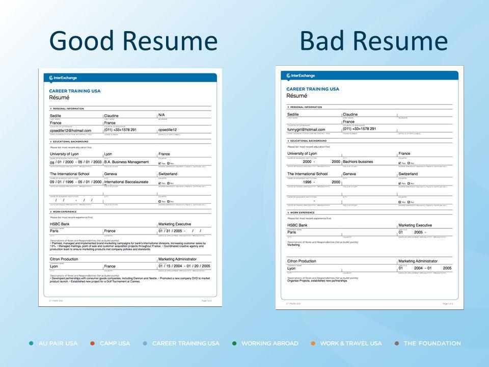 Good Resume Bad Resume.