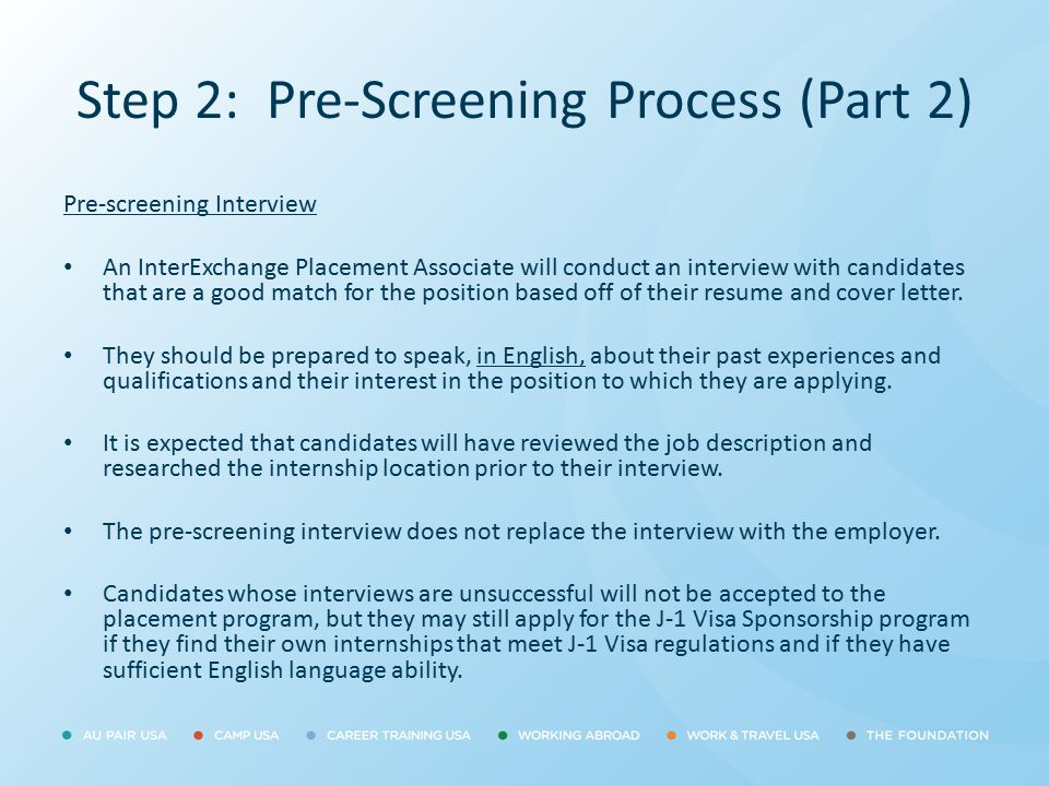 Step 2: Pre-Screening Process (Part 2)