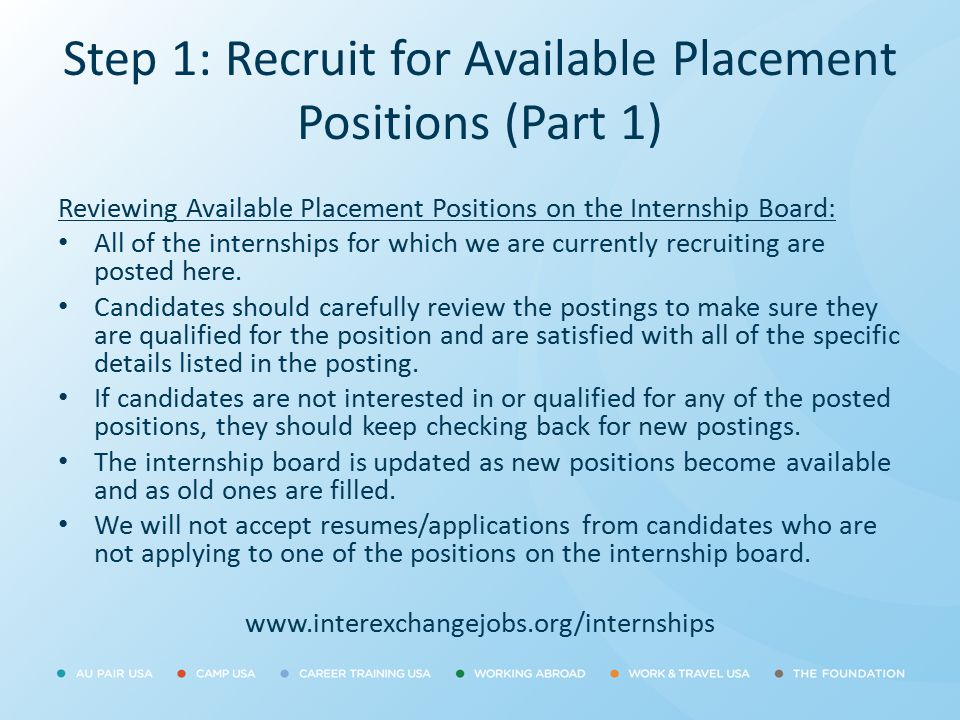 Step 1: Recruit for Available Placement Positions (Part 1)