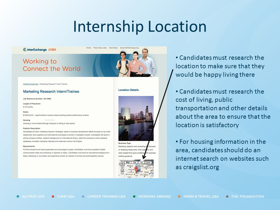 Internship Location Candidates must research the location to make sure that they would be happy living there.