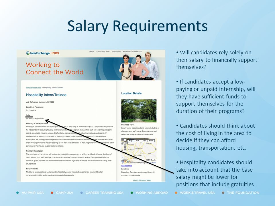 Salary Requirements Will candidates rely solely on their salary to financially support themselves