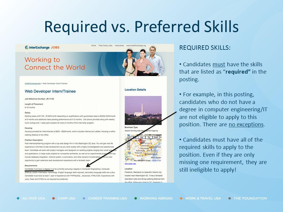 Required vs. Preferred Skills