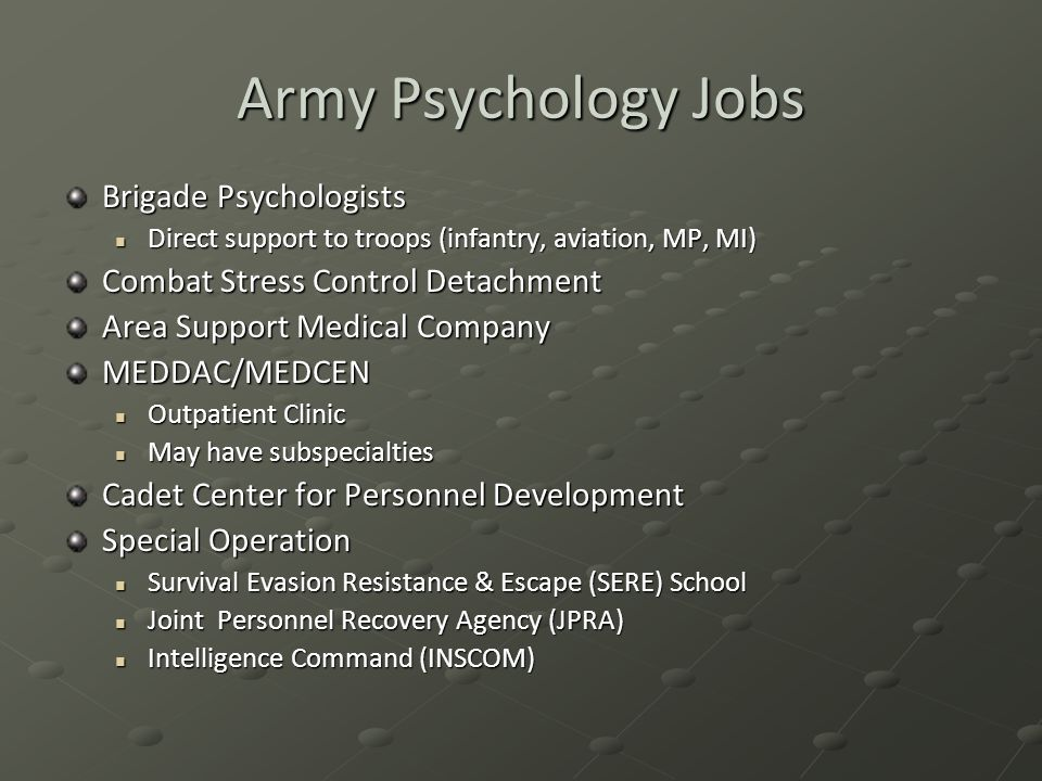 Army Psychology Jobs Brigade Psychologists
