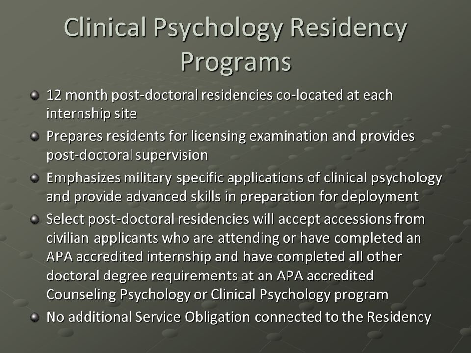 Clinical Psychology Residency Programs