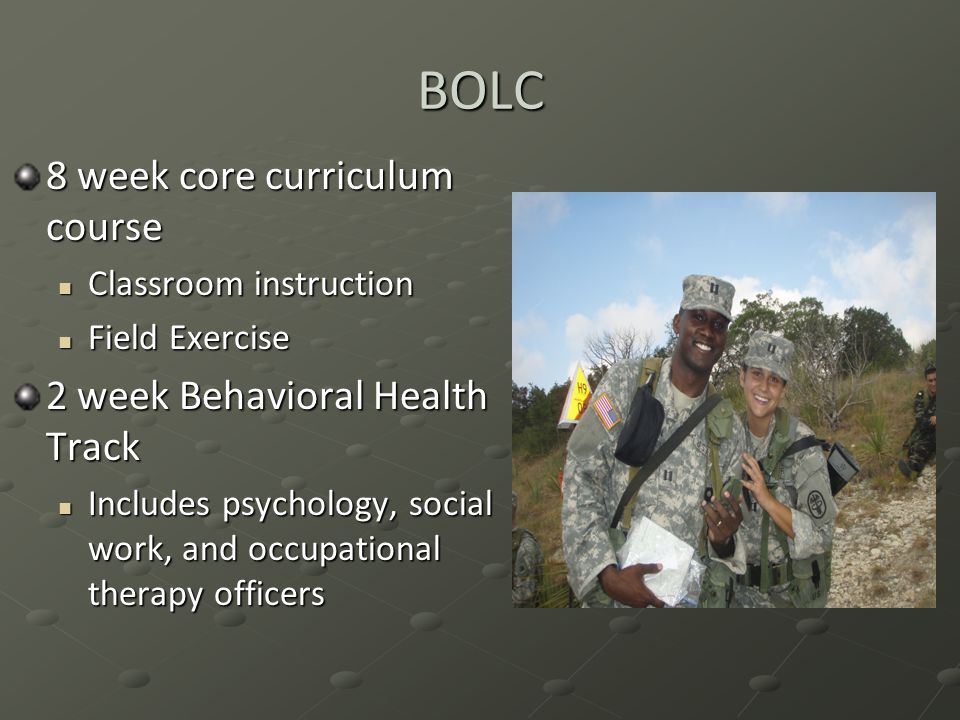 BOLC 8 week core curriculum course 2 week Behavioral Health Track