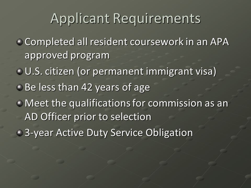 Applicant Requirements