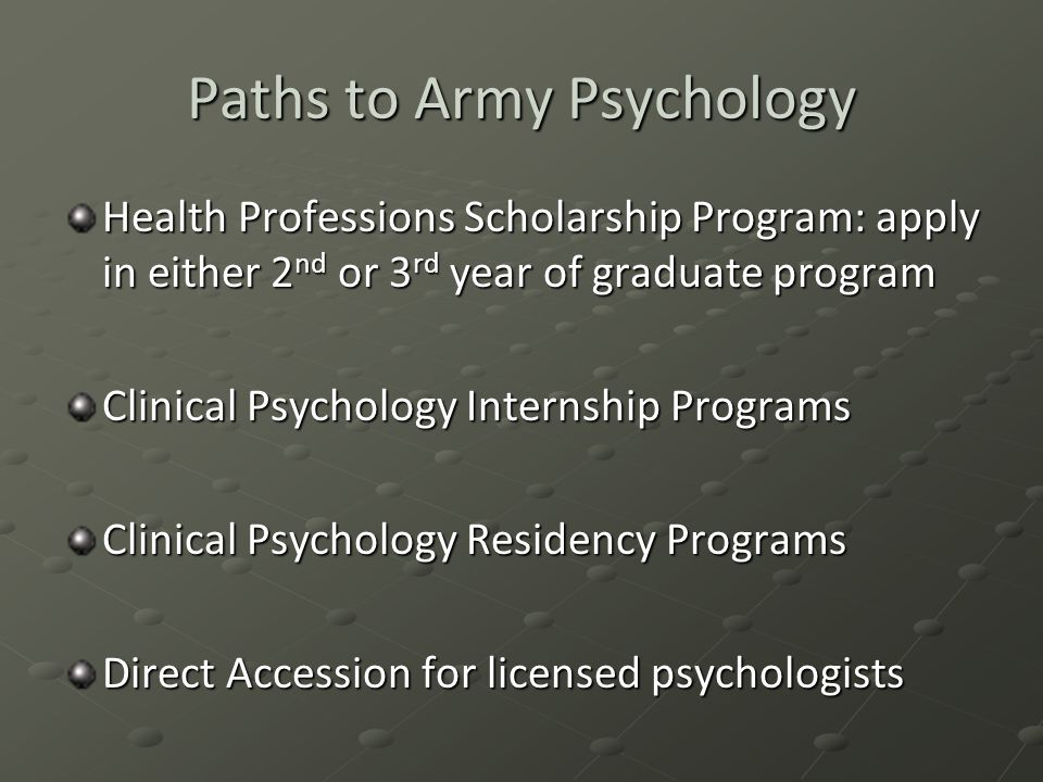 Paths to Army Psychology