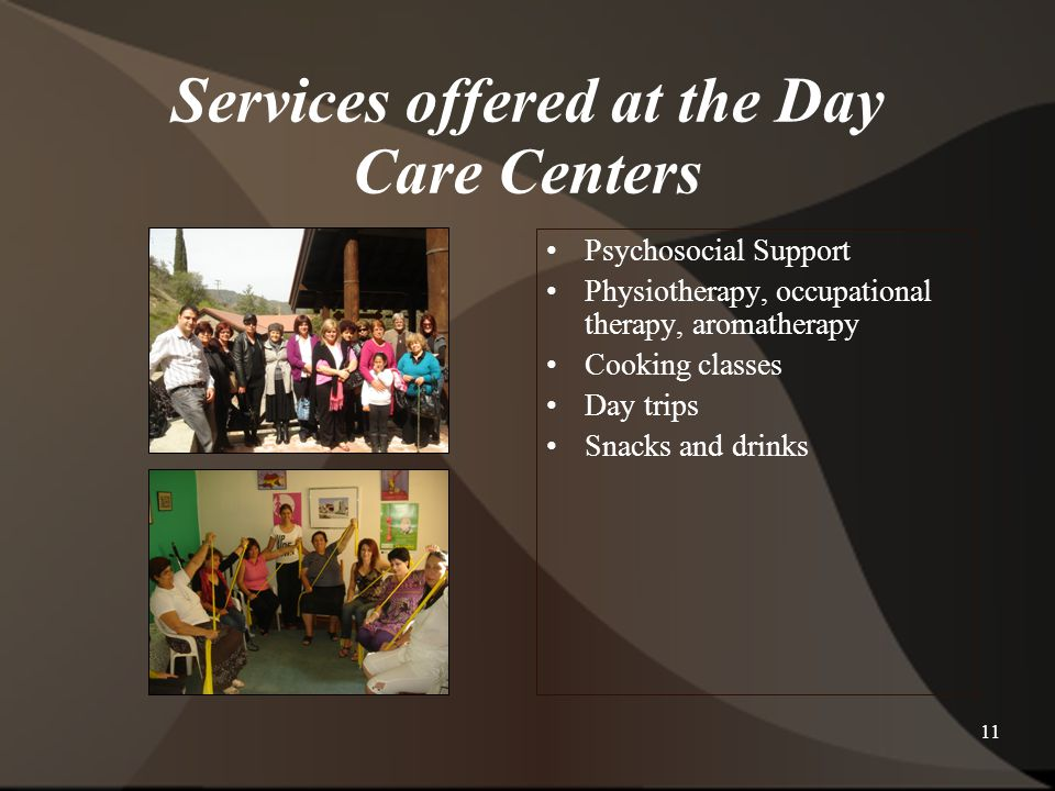 Services offered at the Day Care Centers