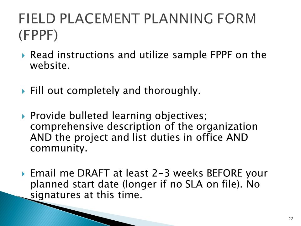 FIELD PLACEMENT PLANNING FORM (FPPF)