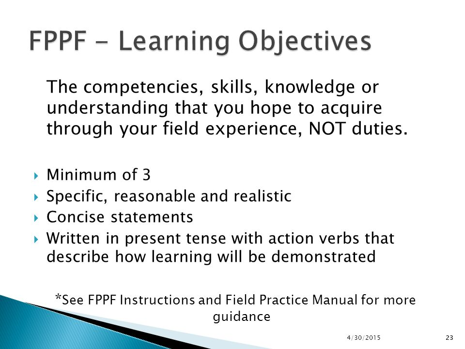 FPPF - Learning Objectives