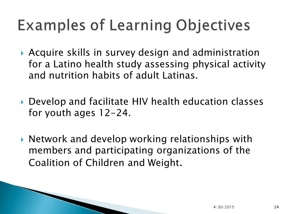 Examples of Learning Objectives