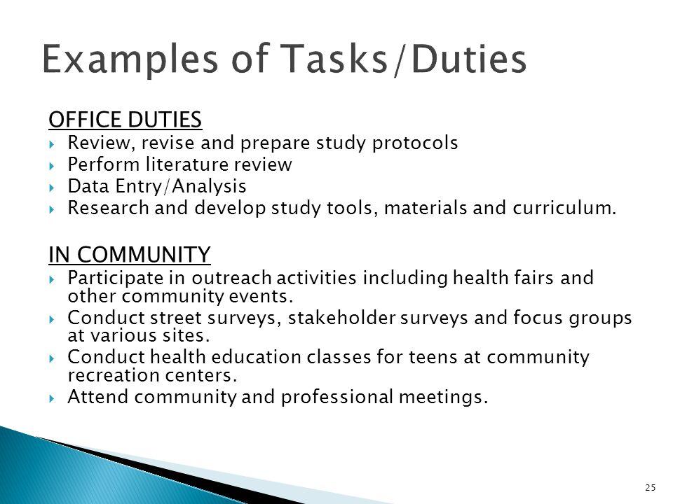 Examples of Tasks/Duties