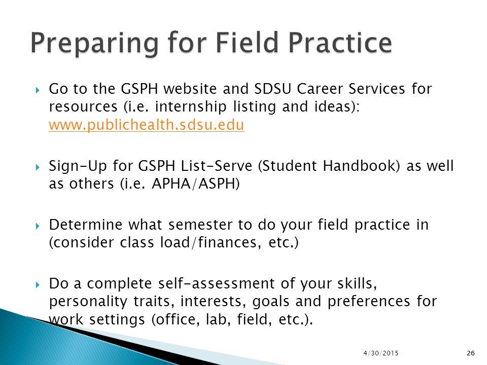 Preparing for Field Practice