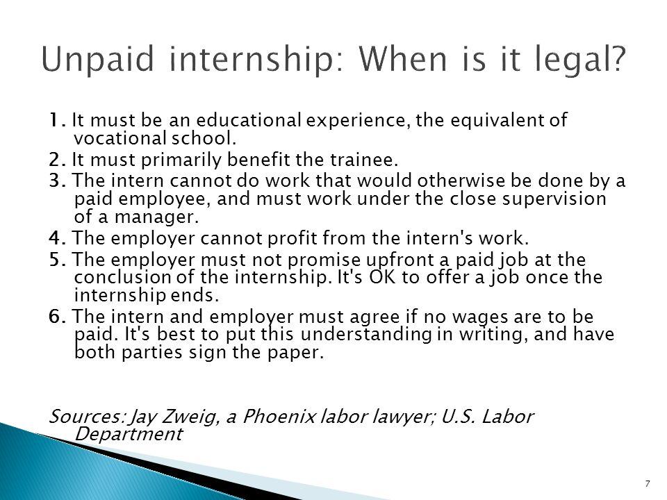 Unpaid internship: When is it legal
