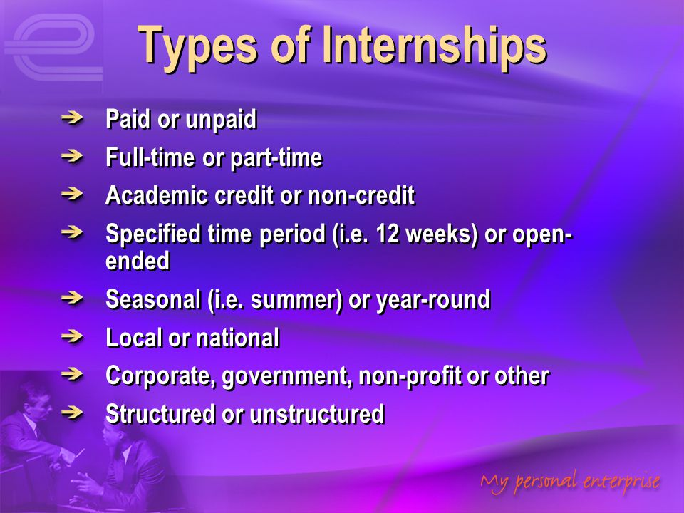 Types of Internships Paid or unpaid Full-time or part-time