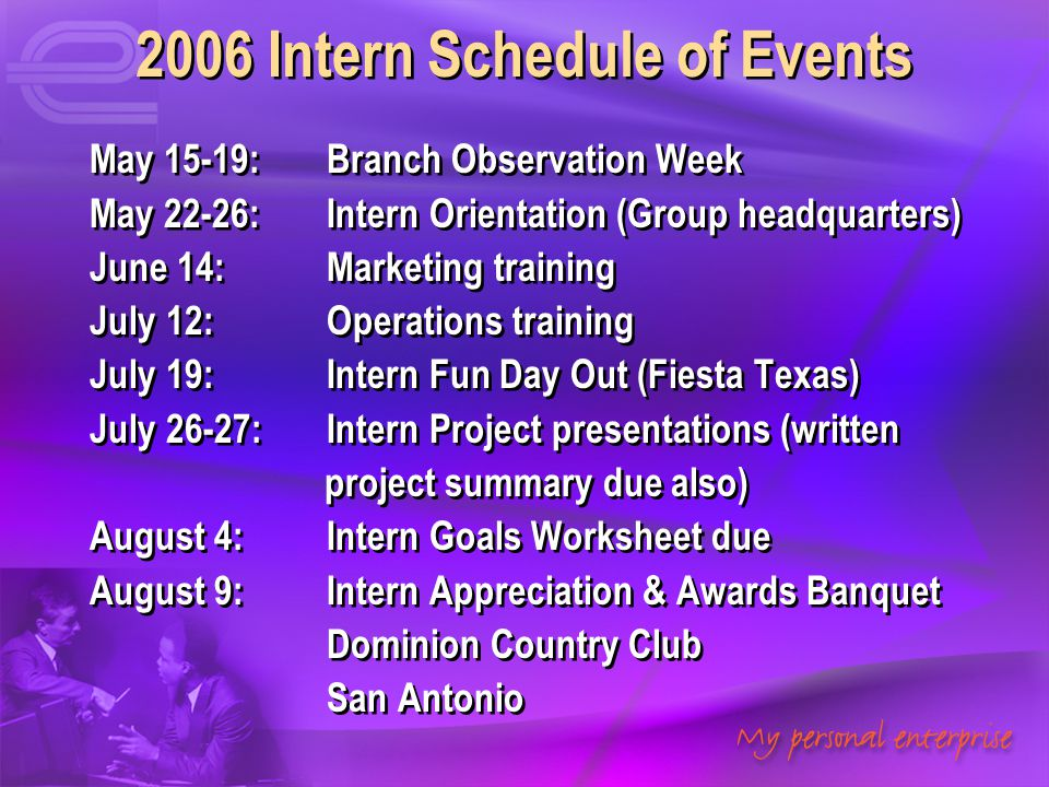 2006 Intern Schedule of Events
