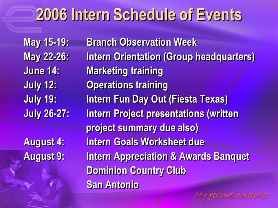 2006 Intern Schedule of Events