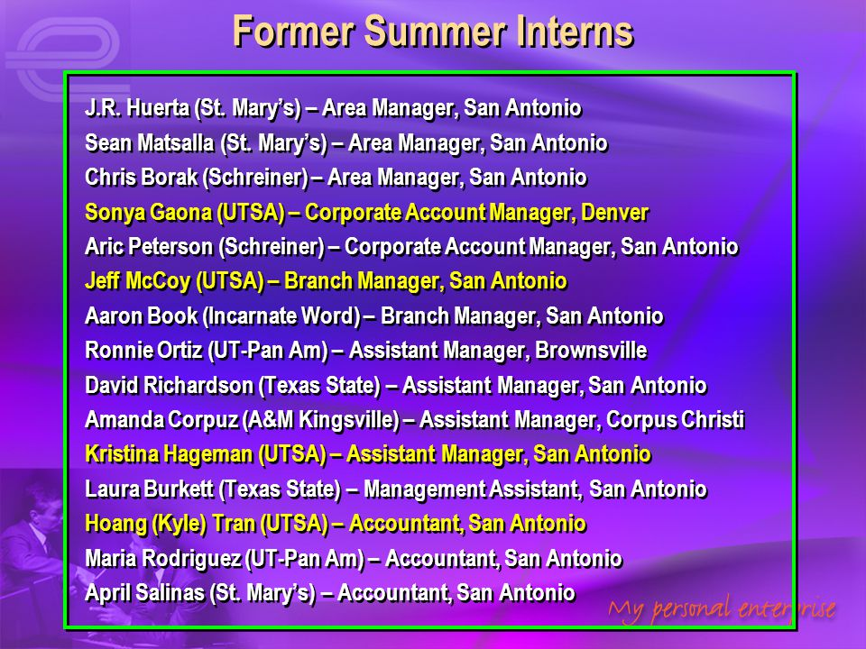 Former Summer Interns J.R. Huerta (St. Mary's) – Area Manager, San Antonio. Sean Matsalla (St. Mary's) – Area Manager, San Antonio.