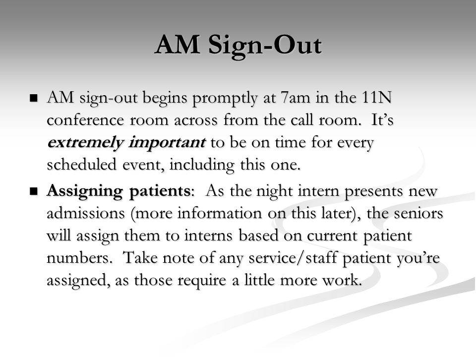 AM Sign-Out