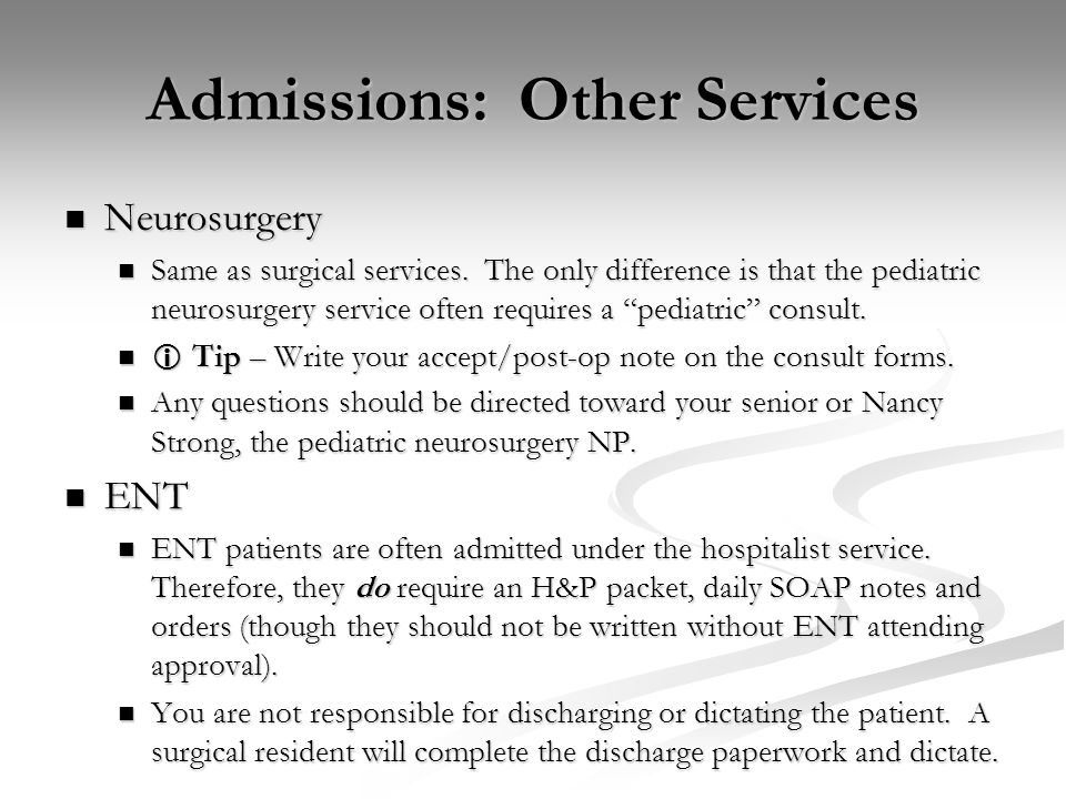 Admissions: Other Services