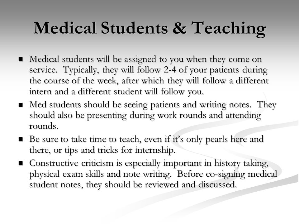 Medical Students & Teaching