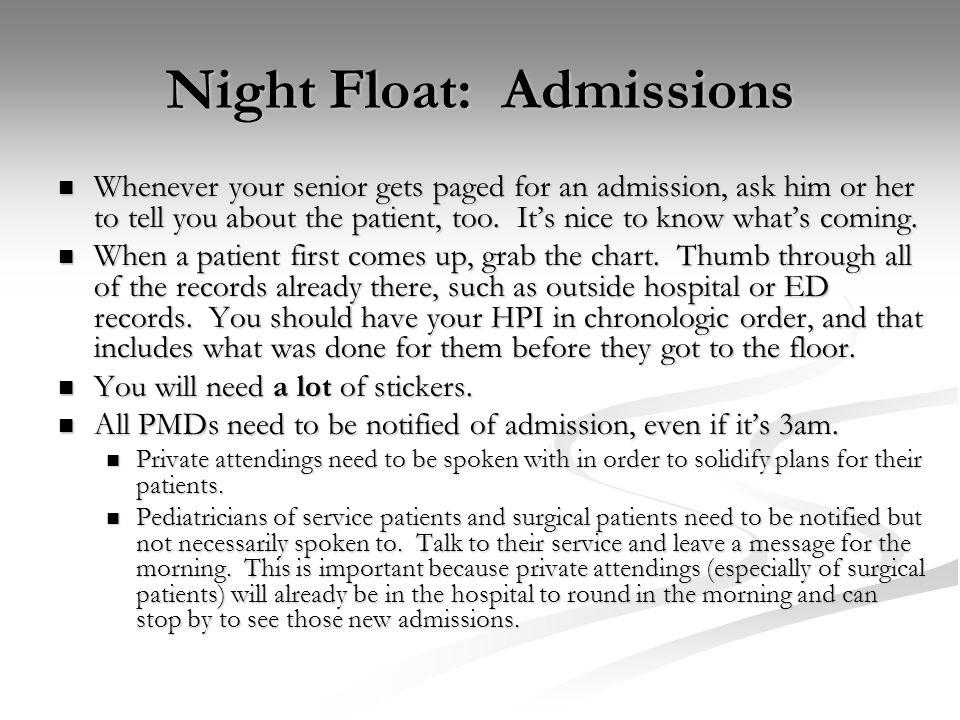 Night Float: Admissions