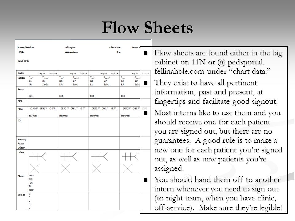 Flow Sheets Flow sheets are found either in the big cabinet on 11N or @ pedsportal. fellinahole.com under chart data.