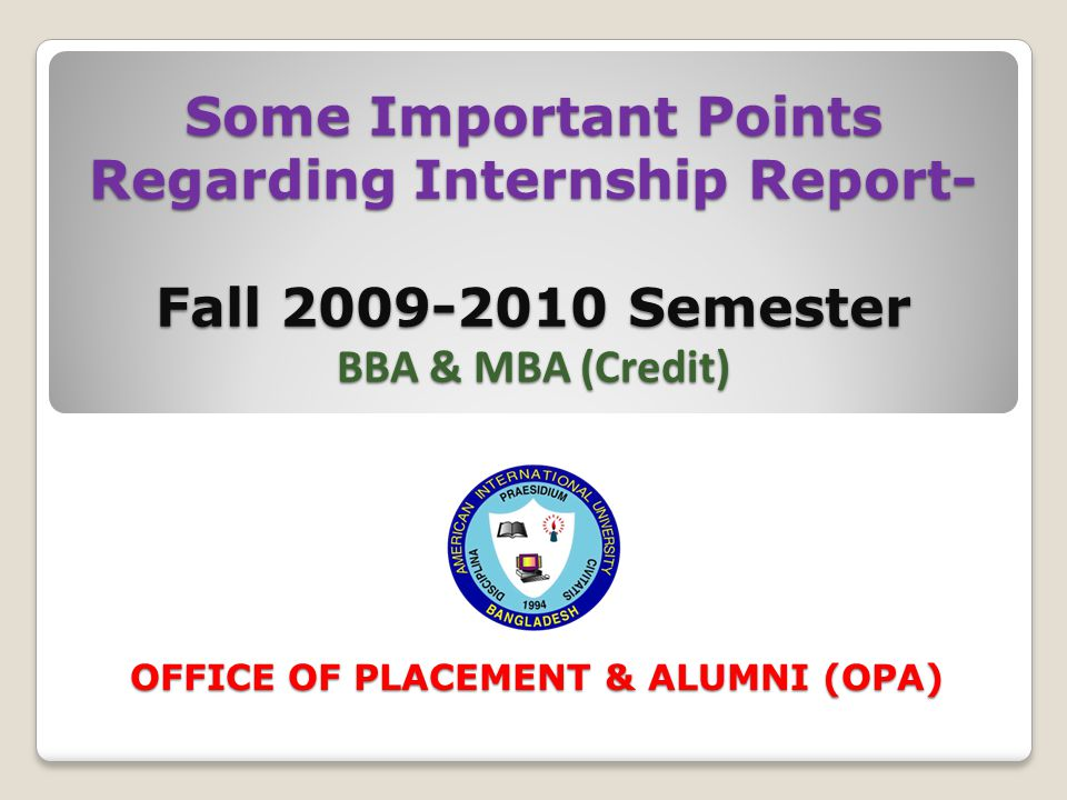 OFFICE OF PLACEMENT & ALUMNI (OPA)