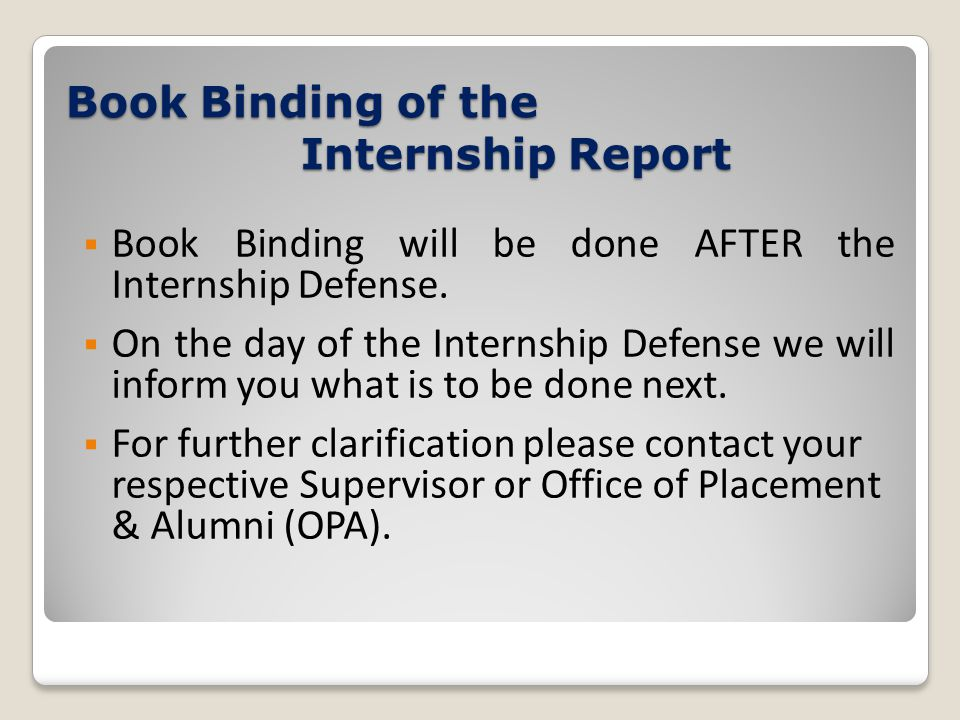 Book Binding of the Internship Report