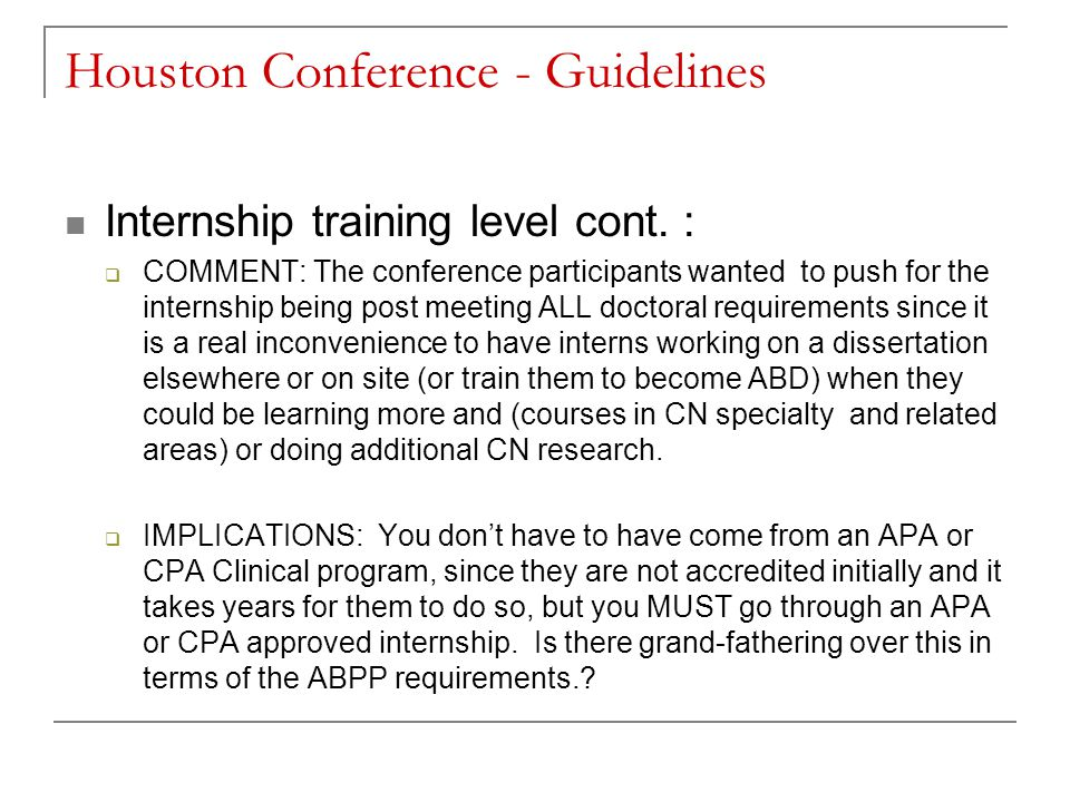 Houston Conference - Guidelines