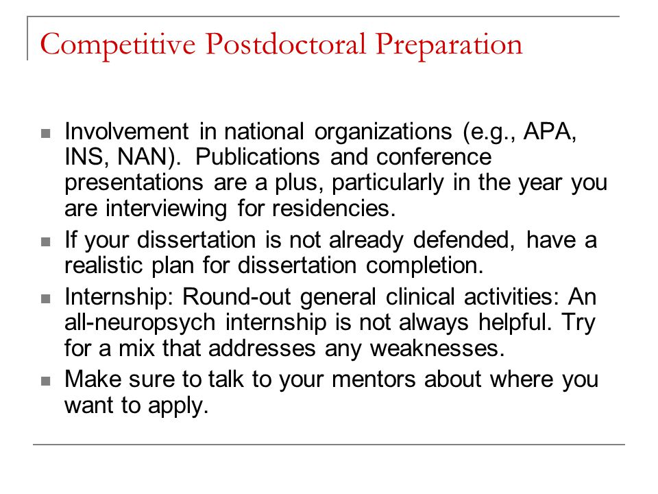Competitive Postdoctoral Preparation