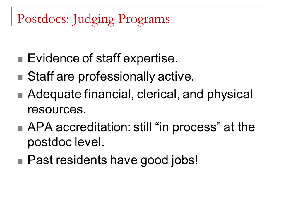 Postdocs: Judging Programs