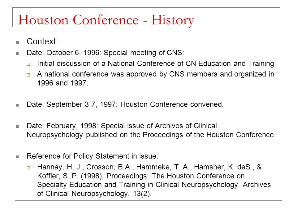 Houston Conference - History
