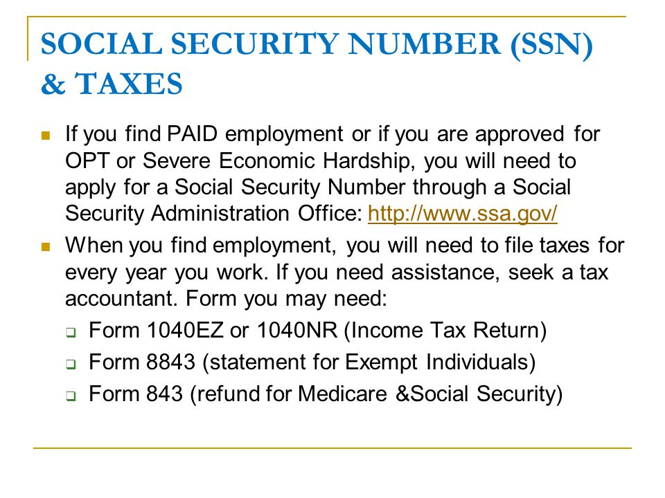 SOCIAL SECURITY NUMBER (SSN) & TAXES