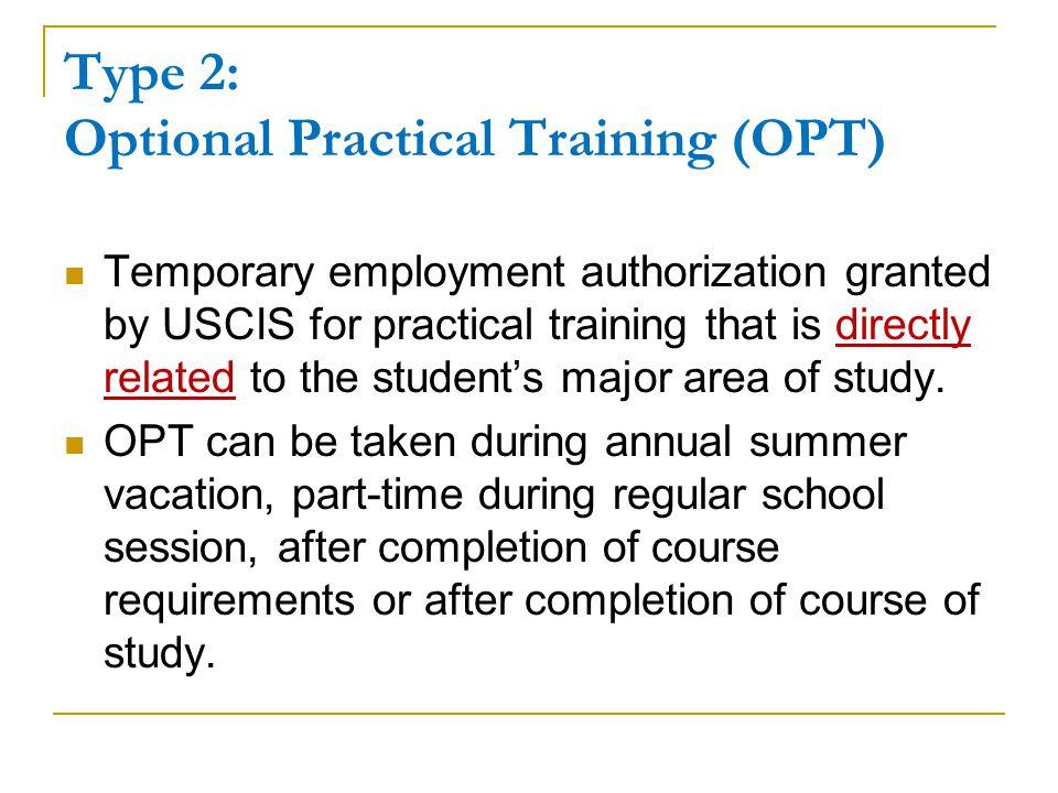 Type 2: Optional Practical Training (OPT)