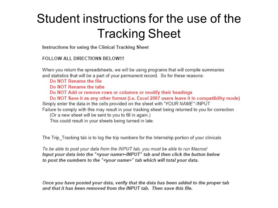 Student instructions for the use of the Tracking Sheet