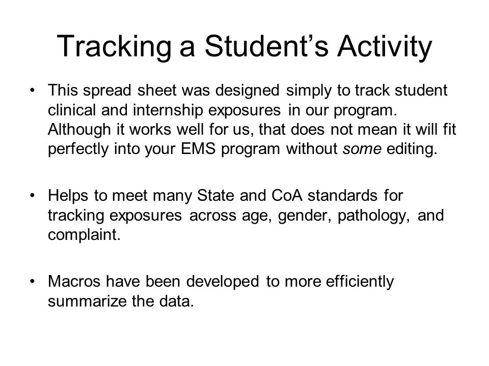 Tracking a Student's Activity
