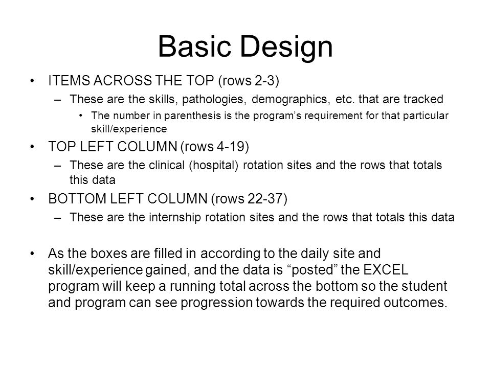 Basic Design ITEMS ACROSS THE TOP (rows 2-3)