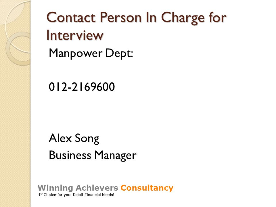 Contact Person In Charge for Interview