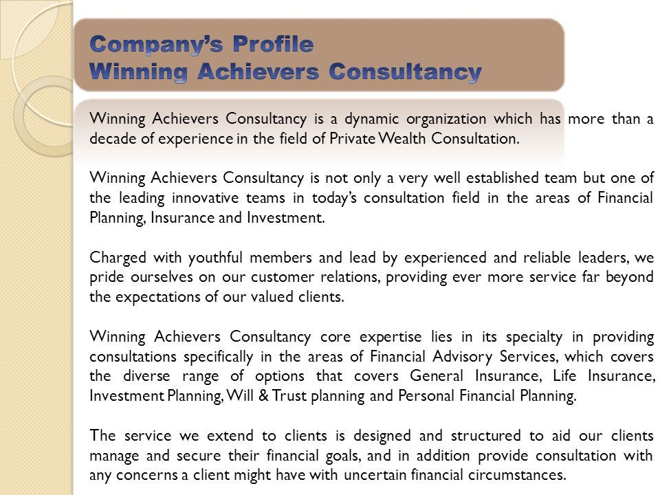 Company's Profile Winning Achievers Consultancy