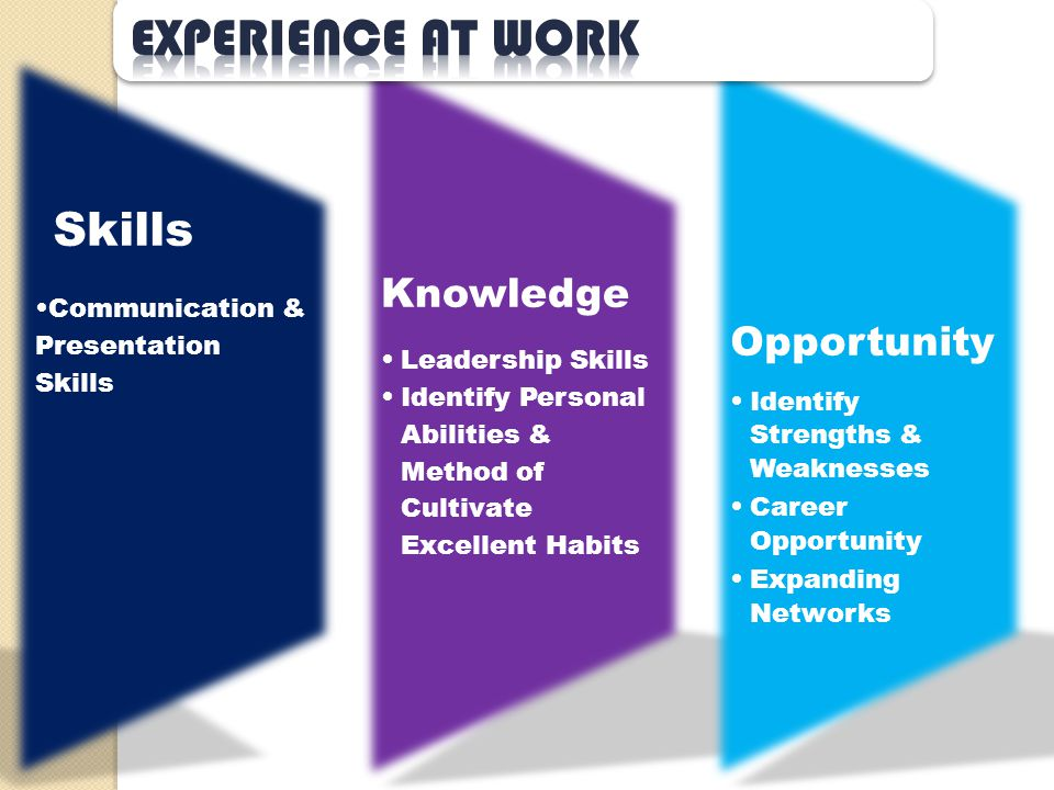 Experience at work Skills Knowledge Opportunity