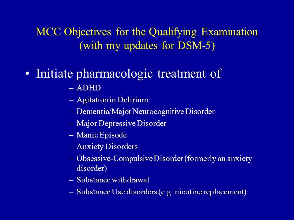 Initiate pharmacologic treatment of