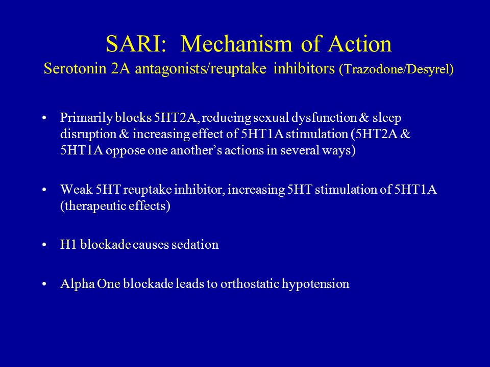 SARI: Mechanism of Action Serotonin 2A antagonists/reuptake inhibitors (Trazodone/Desyrel)