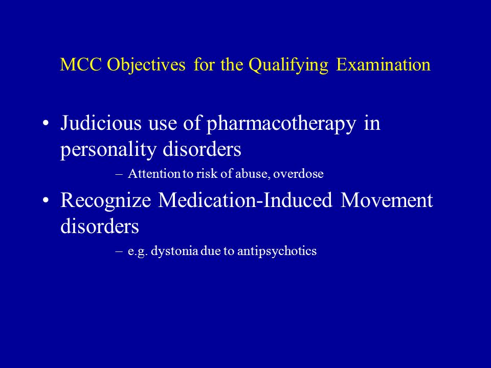 MCC Objectives for the Qualifying Examination