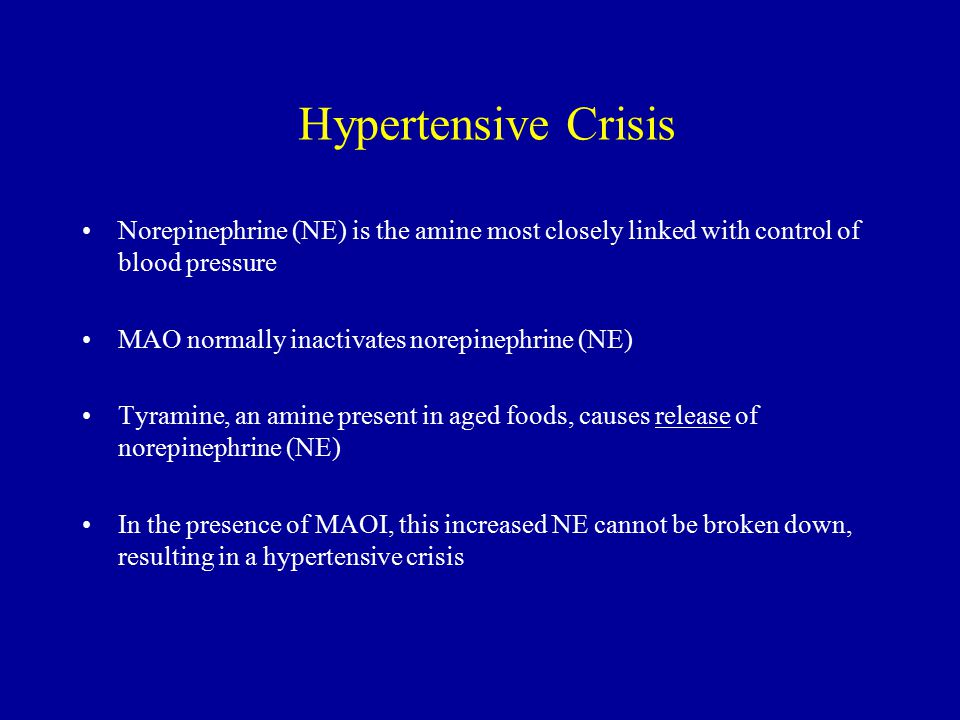 Hypertensive Crisis Norepinephrine (NE) is the amine most closely linked with control of blood pressure.