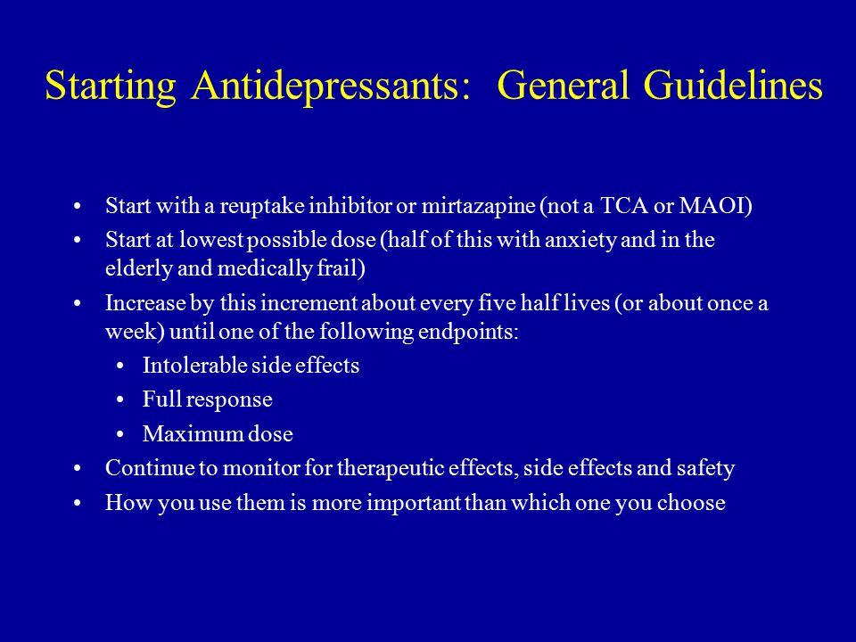 Starting Antidepressants: General Guidelines